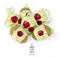 Набор пасхальных яиц с розами 6 шт. 64358